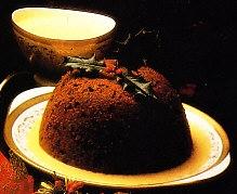 Plum-pudding con crema inglesa