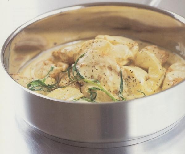 Pollo a la crema de Calvados