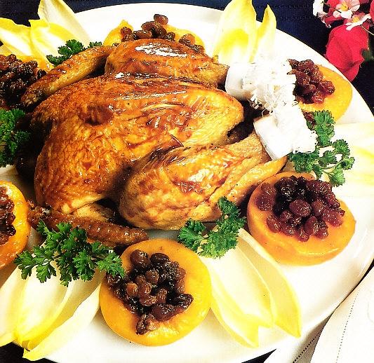Pollo con pasas y melocotones