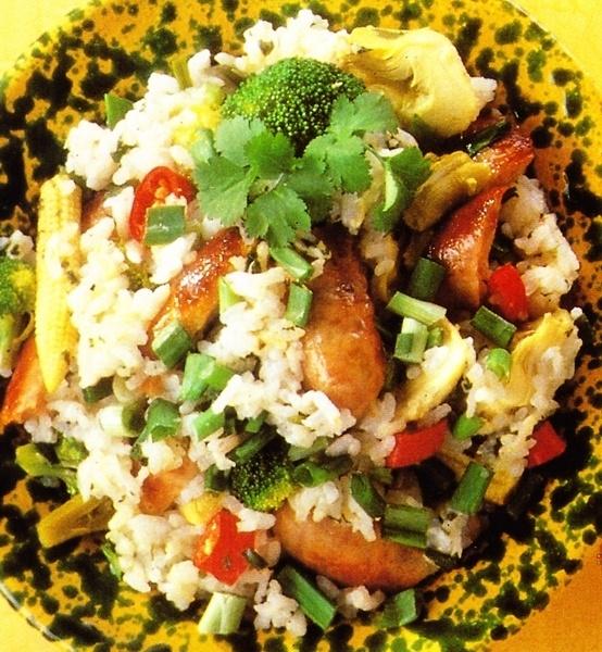 Salchichas con arroz