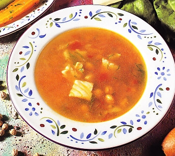 Sopa de garbanzos con bacalao