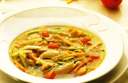 sopa de pavo con verduras