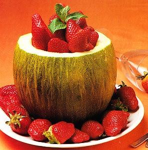 Sorbete de melón y fresas