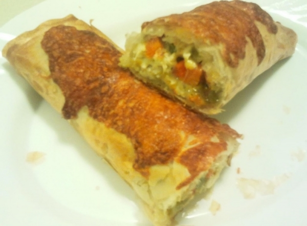 Strudel de pollo y verduras