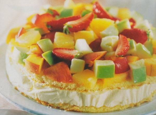 Tarta de helado de albaricoque y frutas