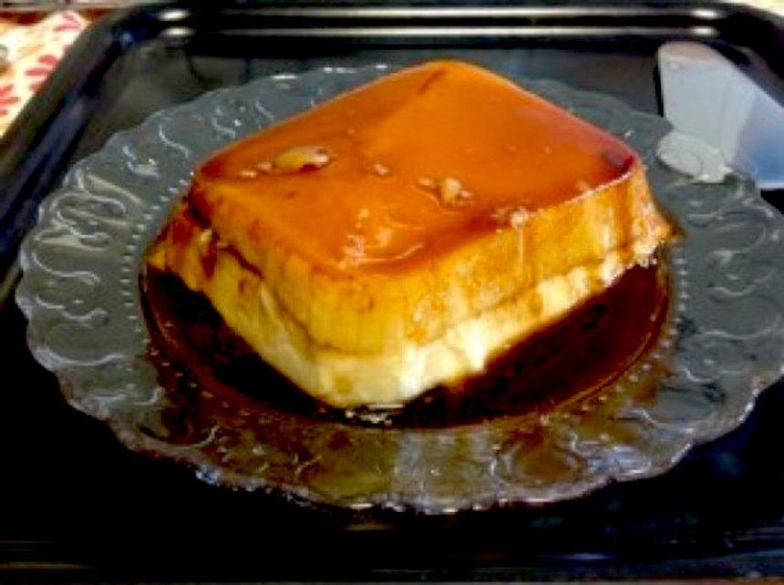 Tarta de tocino de cielo, queso y piñones en Thermomix