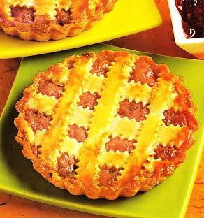 Tartas rellenas de requesón rosa