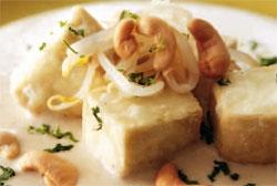 Tofu frito en crema de sitake