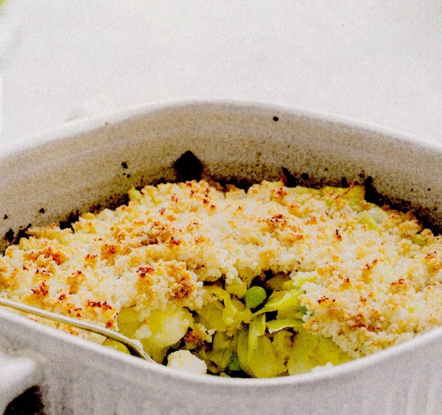 Verduras al horno con crujiente de coliflor
