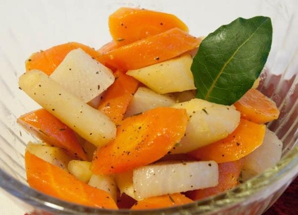 Zanahorias y nabos glaseados en microondas