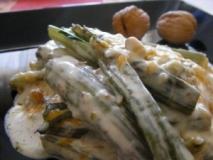 Acelgas con salsa de queso azul