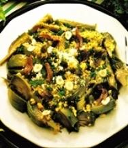 Alcachofas cocidas con salsa