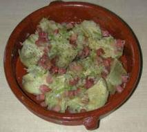 Alcachofas con jamón al vino blanco