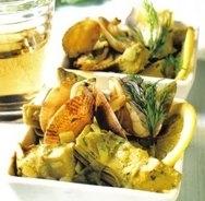 Alcachofas con papada de cerdo, almejas y trufa