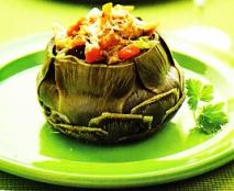 Alcachofas rellenas de hortalizas y setas