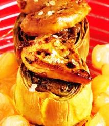 Receta de Alcachofas rellenas de setas de calabaza con hígado de pato