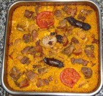 Receta de Arroz al horno al estilo murciano, con panceta, longaniza y morcillas