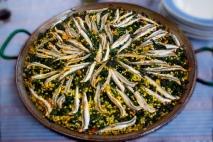Receta de Arroz con espinacas, ajos tiernos y boquerones
