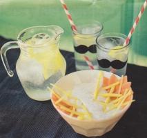 Arroz con leche de coco, piña y papaya