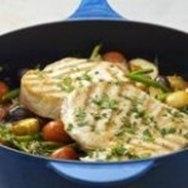 Atún con verduras al microondas