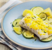 Bacalao con mantequilla de naranja y limón en Thermomix