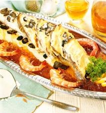 Receta de Besugo con salsa de langostinos