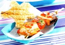 Receta de Brochetas de tomates cherry y pescado para niños