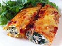 Canelones de espinacas y queso Emmental
