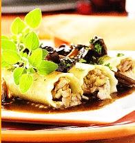 Canelones de pato, setas y foie