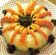 Corona de arroz con cigalas y langostinos