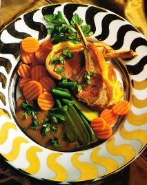 Receta de Costillas de cordero con judías verdes y zanahorias