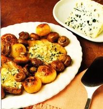 Costillas de ternera con champiñones al Roquefort