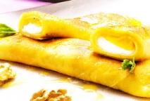 Crêpes de queso y naranja