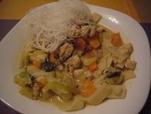 Receta de Curry verde con pollo y verduras o Kang Kiew Wan Kai