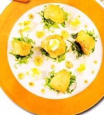 Dados de bacalao con mayonesa de cítricos