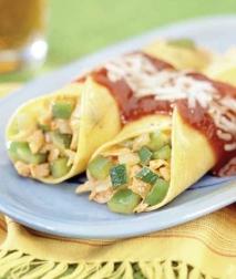 Enchiladas de pollo y vegetales
