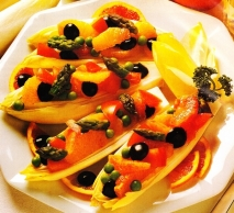 Endibias rellenas a la naranja