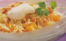 Receta de Ensalada de arroz con albaricoques y bacon