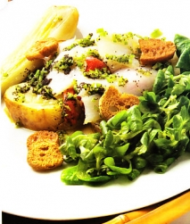 Ensalada de patatas asadas con bacalao
