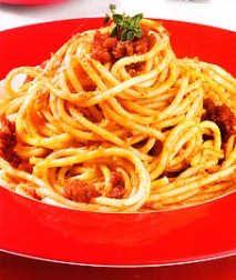 Espaguetis con crema de sobrasada