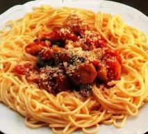 Espaguetis con sanfaina