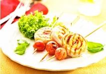 Espirales de pollo y jamón