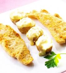 Filetes de lenguado y patatas con salsa tártara