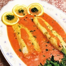 Filetes de pescado en salsa de yogur