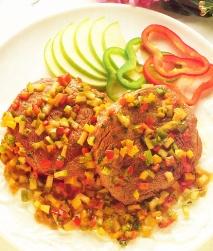 Filetes en salsa de verduras y manzanas