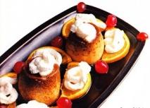 Receta de Flan de naranja con nata y guindas