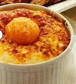 Flanes de puré y huevos