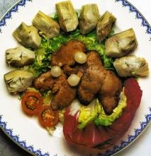 Foie-gras de oca sobre alcachofas