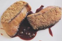 Foie gras fresco con costra de borregos