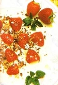 Fresas en salsa de helado